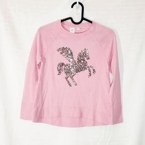 NWT Gap Kids Pink Sequin Unicorn Sweater